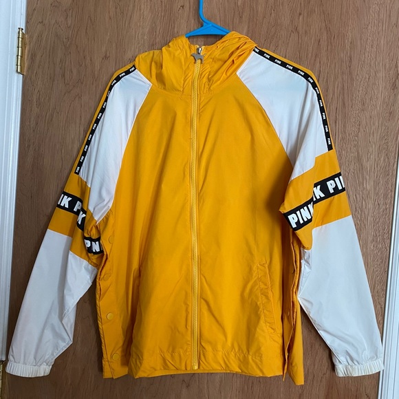 PINK yellow and white windbreaker size XS